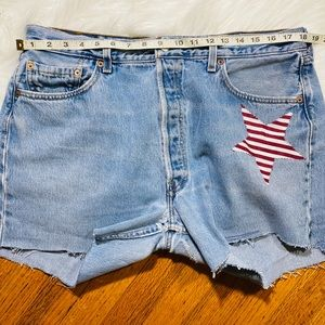 Levi's high rise mom jean distressed shorts